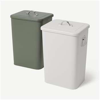 Jaber Lidded Recycling Bins, 2 x 26L Forest Green & Cool Grey (H46 x W30 x D26cm)
