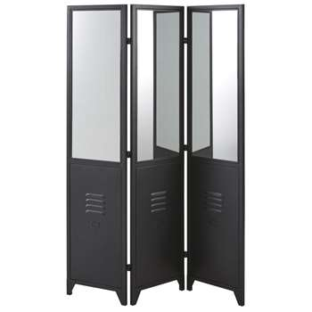 JACKSON - Black Metal Room Divider with Mirrors (H183 x W123.5 x D2.5cm)