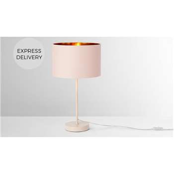 Jacy Table Lamp, Pink & Copper (H57.5 x W30 x D30cm)
