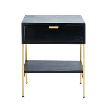 Jagger Black Solid Acacia and Gold Metal 1-Drawer Bedside Table (H56 x W44 x D36cm)