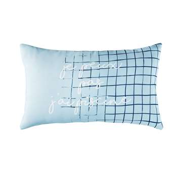 J'AI PISCINE Blue Outdoor Cushion with Print (H30 x W50 x D10cm)