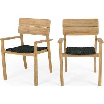 Jala Garden Set of 2 Dining Carver Chair, Acacia wood and Spun polyester (H84 x W53 x D60cm)