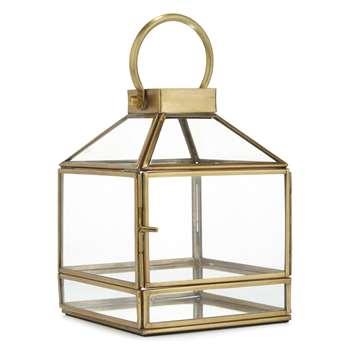 James Brass Finish Tealight Lantern (12 x 17cm)