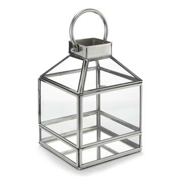James Silver Tealight Lantern 12 x 17cm