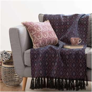 JAMESON Purple Patterned Cotton Throw (130 x 170cm)