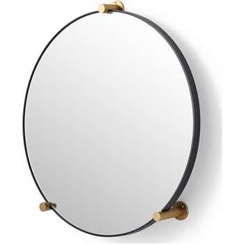 Jamison Circular Wall Stud Mirror, Gunmetal & Brass (H64 x W61 x D11cm)