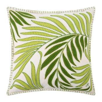 Jan Constantine - Tropical Palm Cushion - White (H46 x W46cm)