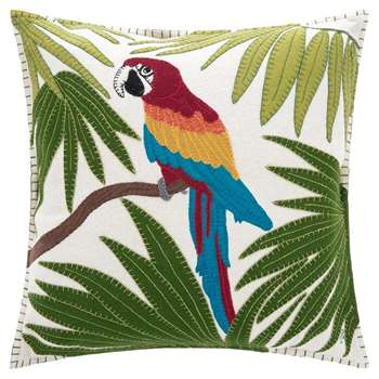 Jan Constantine - Tropical Parrot Cushion - Cream (H46 x W46cm)