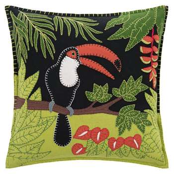 Jan Constantine - Tropical Toucan Cushion - Black (H46 x W46cm)