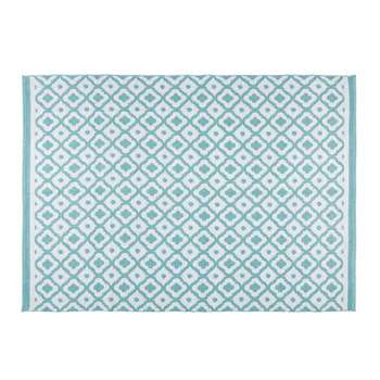JANE white and blue geometric motif outdoor rug 140 x 200 cm