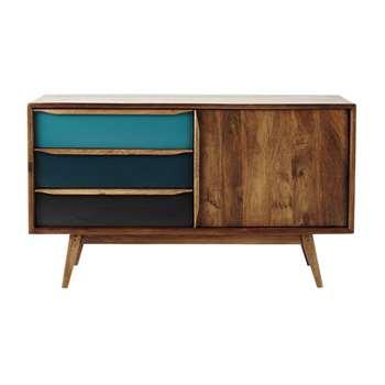 JANEIRO - Mango Wood Vintage Blue Sideboard (H73 x W127 x D42cm)