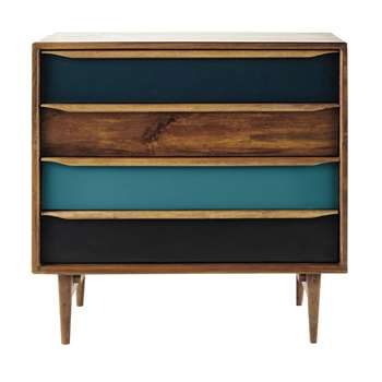 JANEIRO Stained mango wood vintage chest of drawers (83 x 86cm)