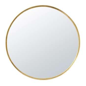 JANET - Round Gold Metal Mirror (H110 x W110 x D6.5cm)