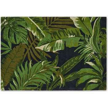 Jangala Botanical Wool Rug, Large, Midnight Blue & Green (H160 x W230cm)