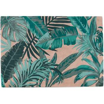 Jangala Botanical Wool Rug, Large, Pink and Teal (H160 x W230 x D1.7cm)