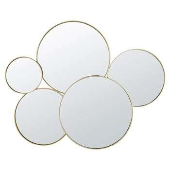 JANIS - Round Golden Metal Mirrors (H91 x W113 x D4cm)