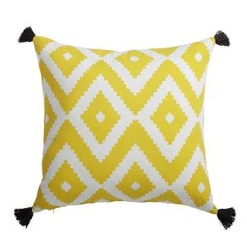 JANULAM cotton cushion in yellow / white (45 x 45cm)