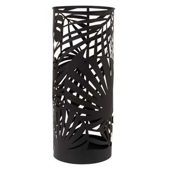 JARO Black Openwork Metal Umbrella Stand with Foliage Motifs (H55 x W23 x D23cm)