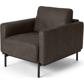 Jarrod Armchair, Truffle Brown Leather (H74 x W80 x D91cm)