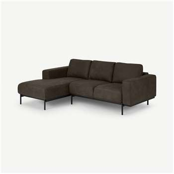 Jarrod Left Hand facing Chaise End Corner Sofa, Truffle Brown Leather (H74 x W217 x D150cm)