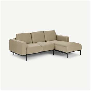 Jarrod Right Hand Facing Chaise End Corner Sofa, Plush Taupe Velvet (H74 x W217 x D150cm)