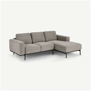 Jarrod Right Hand facing Chaise End Corner Sofa, Washed Grey Cotton (H74 x W217 x D150cm)