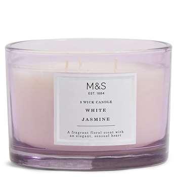 Jasmine 3 Wick Candle, Purple Mix (H8.3 x W11.8 x D11.8cm)