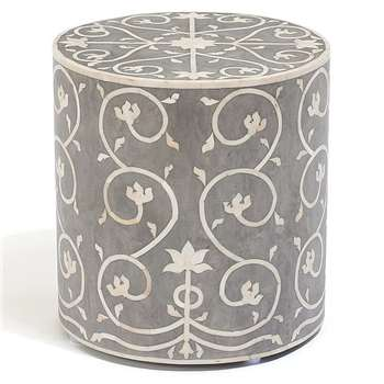 Jasmine Inlay Stool Grey (38 x 36cm)