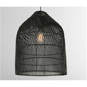 Java Lamp Shade, Large, Black Rattan (H53 x W42 x D42cm)