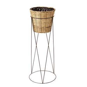 JAVA Rattan and Black Metal Plant Stand (H107 x W43 x D43cm)