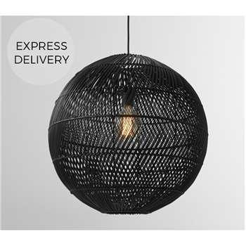 Java Round Lamp Shade, Black Rattan (H49 x W50 x D50cm)
