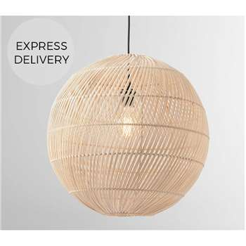 Java Round Lamp Shade, Natural Rattan (H49 x W50 x D50cm)