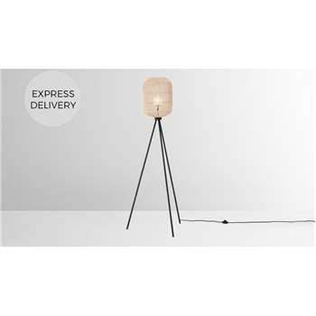 Java Tripod Floor Lamp, Natural Rattan (H156 x W54 x D30cm)