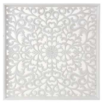 White Carved Wall Art (H90 x W90 x D3cm)