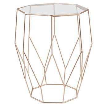 Jaya - Metal Wire and Glass Side Table (H45 x W35 x D35cm)