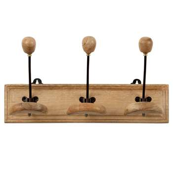 JEANNE- Metal and Mango Wood 3-Hook Coat Rack (H18.5 x W40 x D14cm)