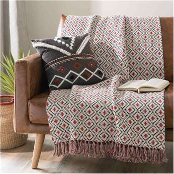 JEMA Red/blue fringed patterned cotton throw (160 x 210cm)