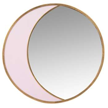 JENA - Round Gold and Pink Metal Mirror (H24.5 x W24.5 x D1cm)