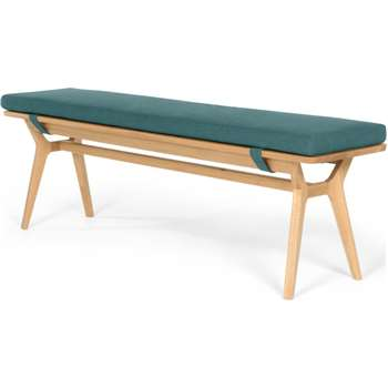 Jenson Bench, Oak and Mineral Blue (H44 x W158 x D35cm)