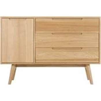 Jenson Compact Sideboard, Solid Oak (H80 x W115 x D45cm)