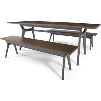 Jenson Extending Dining Table and 2 Benches, Dark Oak and Grey (H74 x W170-210 x D90cm)