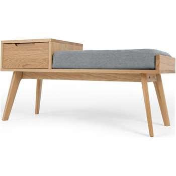 Jenson Storage Bench, Oak (H55 x W110 x D43.2cm)