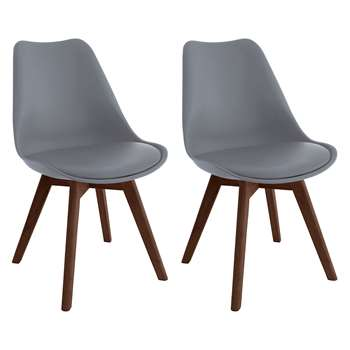 Jerry Pair Of Grey Dining Chairs With Walnut-Stained Legs (H84 x W47 x D55cm)
