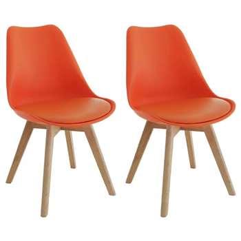Habitat Jerry Pair of Fabric Dining Chair - Orange (H84 x W47 x D55cm)
