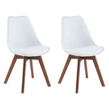 Jerry Pair Of White Dining Chairs With Walnut-Stained Legs (H84 x W47 x D55cm)
