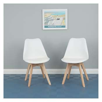Jerry Pair of White Dining Chairs (H84 x W47 x D55cm)