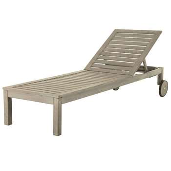 JERSEY Grey Acacia Sun Lounger with Wheels (36 x 64 x 202cm)