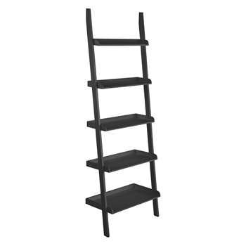 Jessie Black Wide Leaning Bookcase (H189 x W66 x D35cm)