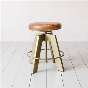 Jett Brass and Leather Stool (H50 x W49 x D49cm)