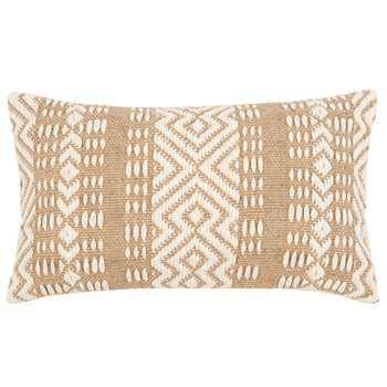 JOALE - Ecru and Brown Woven Jute and Cotton Cushion Cover (H30 x W50cm)